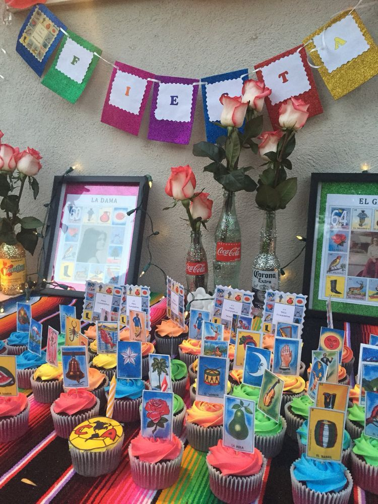Mexican Themed Decoration Ideas Part - 28: Loteria Cupcakes With Barajas N Toothpick. Find This Pin And More On Fiesta  Party ...