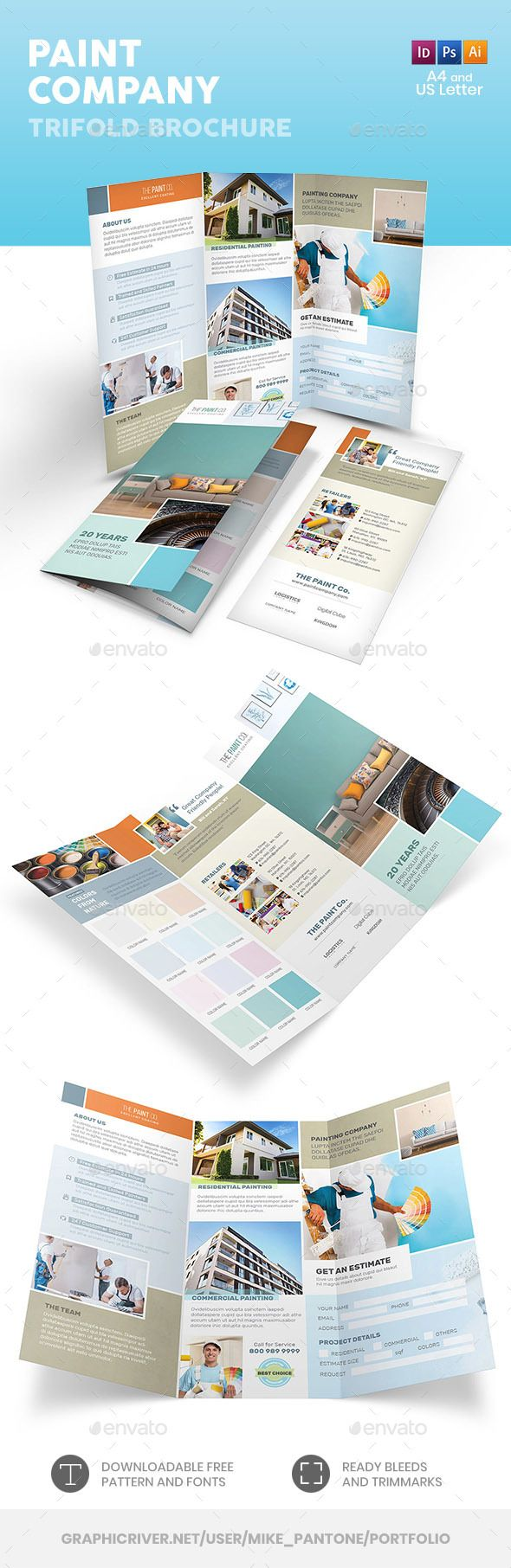 Paint Company Trifold Brochure Template Psd Vector Eps Indesign