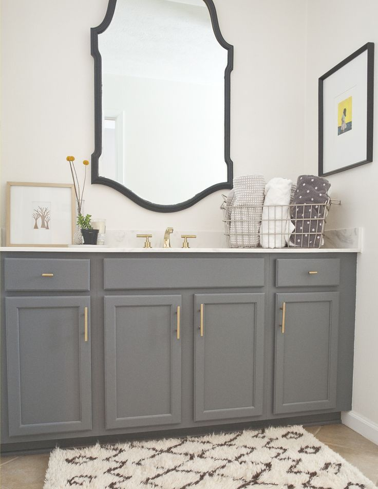When The Bovees Moved In, The Downstairs Bathroom Had Green Laminate  Countertops And Warm Oak · Charcoal BathroomDark Gray ...