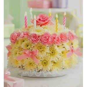 Cake Made Out Of Flowers