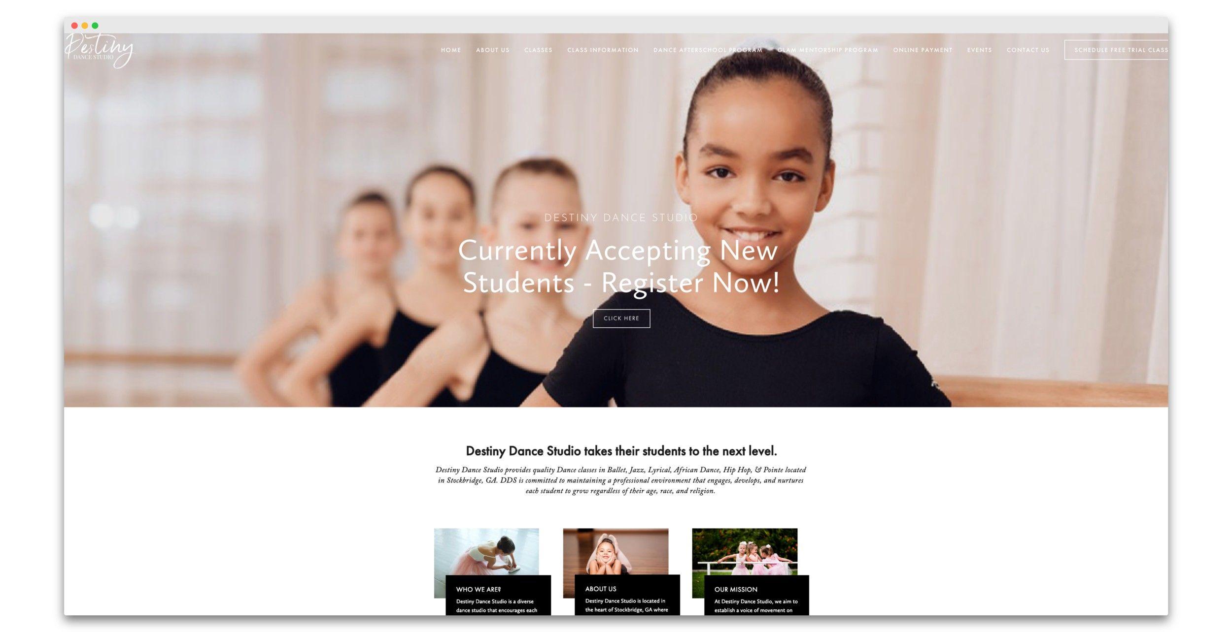 Squarespace Web Design For Destiny Dance Studio By Taj Web Design Co Squarespace Web Design Dance Studio Web Design Studio