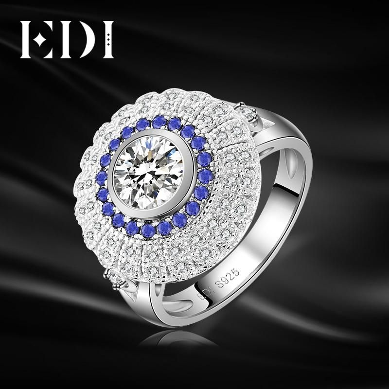 Edi luxury natural sapphire 08ct moissanites diamond 14k