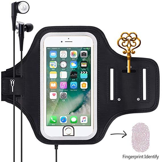 Armband for Phone Running Armband Fits Gym Workout,Water Resistant Cell Phone Holder Case for iPhone Xs MAX//XR//XS//X//8 Plus//7 Plus//6S Plus//6 Plus with Fingerprint ID Access,Keys Holder/&Adjustable Band