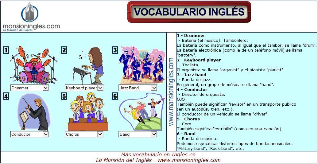 Vocabulario En Inglés Música E Instrumentos Musicales Vocabulario Vocabulario En Ingles Vocabulario Ingles Español