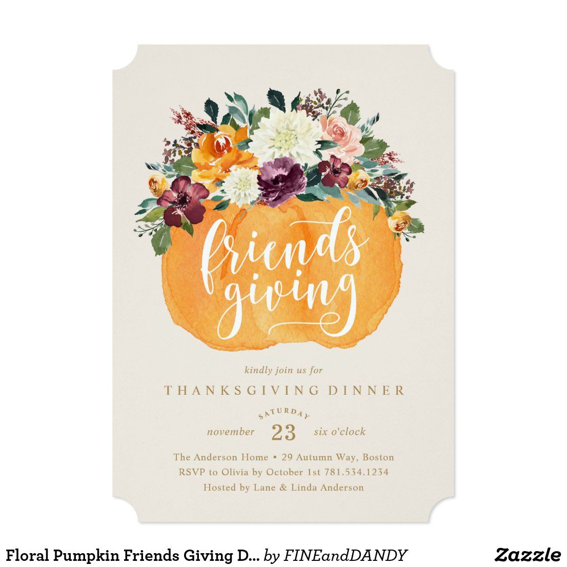 Floral Pumpkin Friends Giving Dinner Invitation