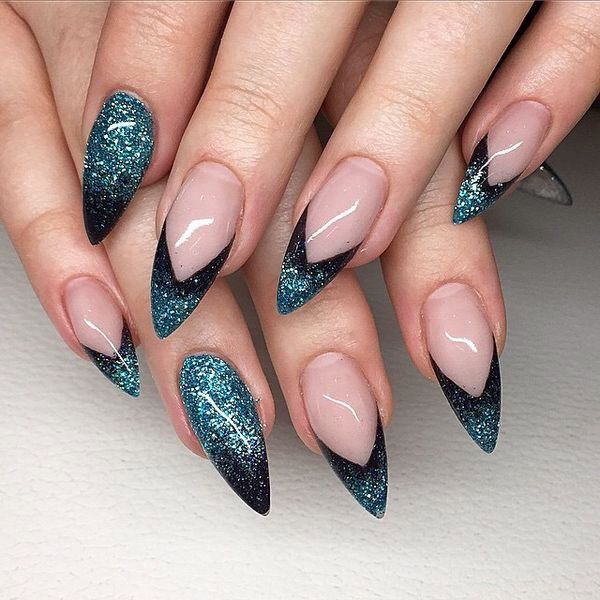 Black and green glitter nails