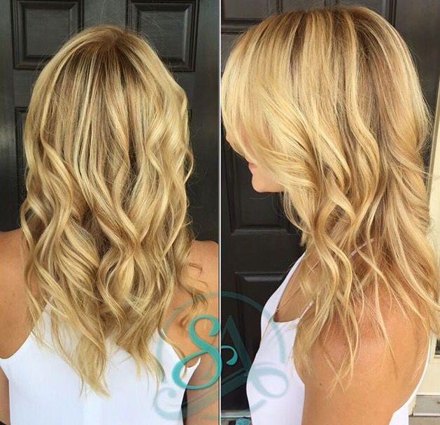 Added Shadow to base and brightened her blonde. This is a great fall color for blondes! #fallhair #SalonAdelle  #balayage #waves #artego