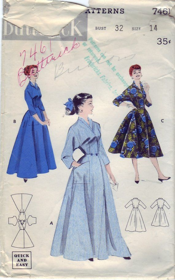 FREE SHIPPING Vintage 1955 Butterick 7461 Sewing Pattern Misses  Robe or  Dress in Two Lengths Size 14 Bust 32 29e162e3f