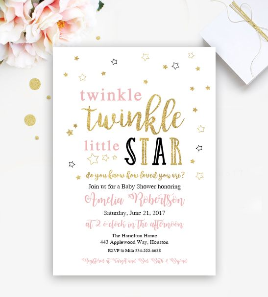 Free Twinkle Little Star Editable Baby Shower Or Birthday