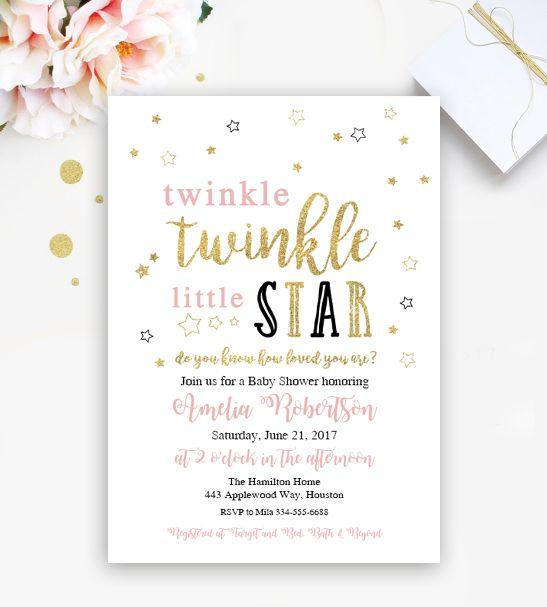 Free Twinkle Twinkle Little Star Editable Baby Shower Or