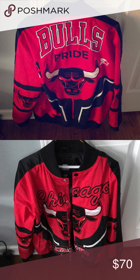 a9be38f1618 Chicago Bulls Starter Jacket Starter Black Label 🖤 Jackets   Coats Bomber    Varsity
