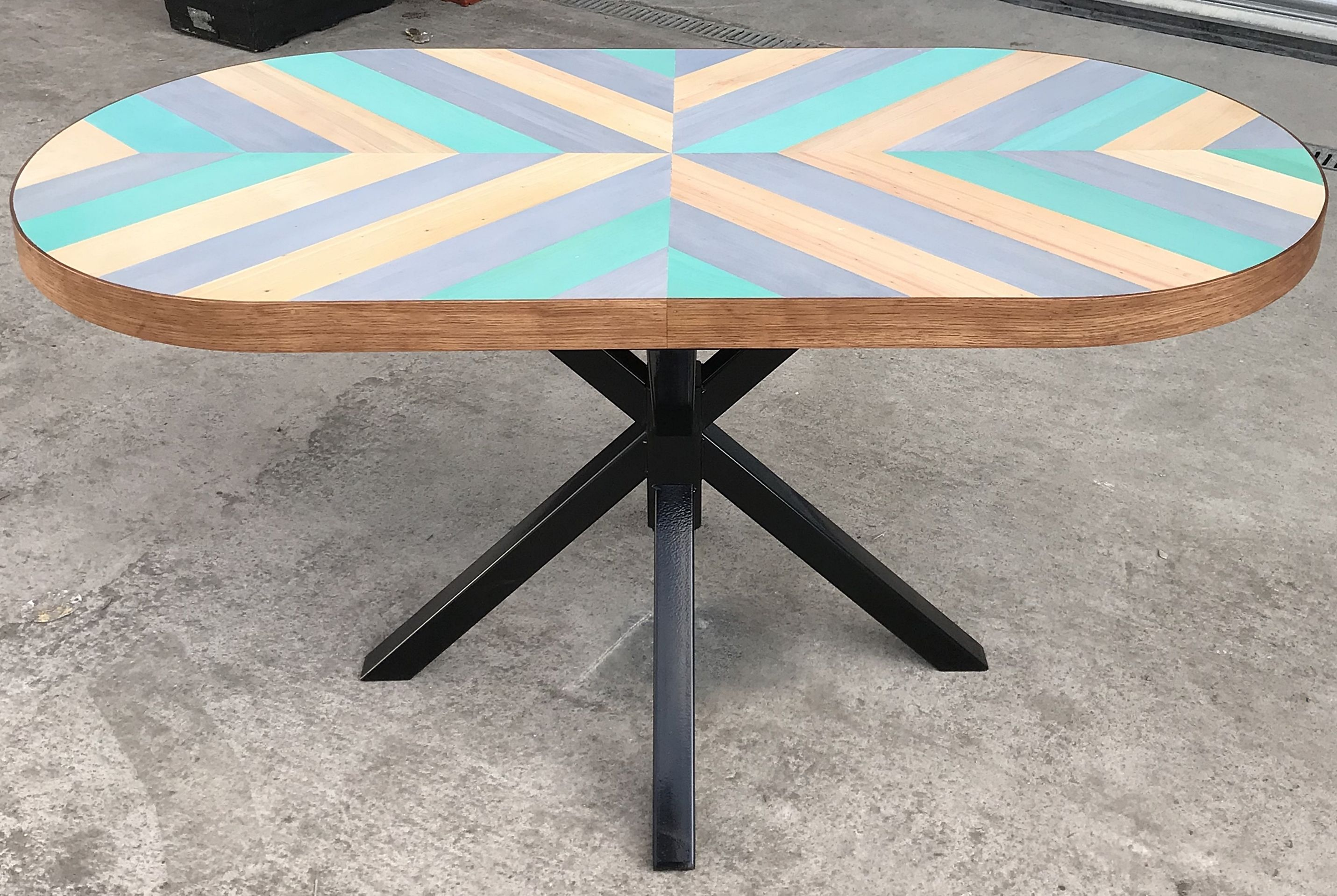 Reclaimed Wood Chevron Dining Table Industrial Dining Table