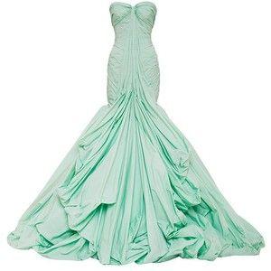 Zac Posen Honeydew Tafetta Gown