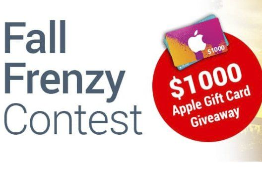 Score a 1,000.00 Apple gift card. Contest closes on