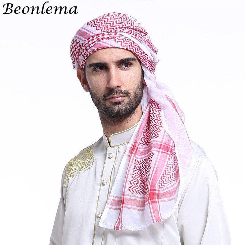 Beonlema Islámico Turbante árabe Bonnet Bufanda Musulmana Cabeza Envuelve Ropa árabe Hombres Tocado Arabia Sau Bufanda Masculina Ropa Islámica Sombreros Hombre