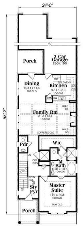Narrow Lot House Plan 009