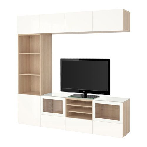 BESTÅ TV storage combination/glass doors - white stained oak effect - Wohnzimmer Ikea Besta