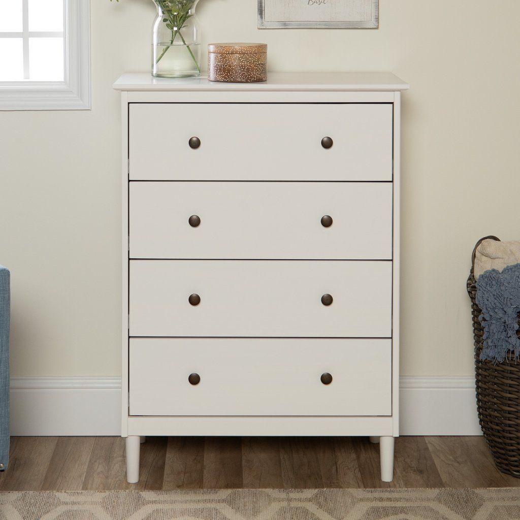 Spencer Solid Wood 4 Drawer Dresser White Chest Of Drawers White Chests Drawers [ 1024 x 1024 Pixel ]