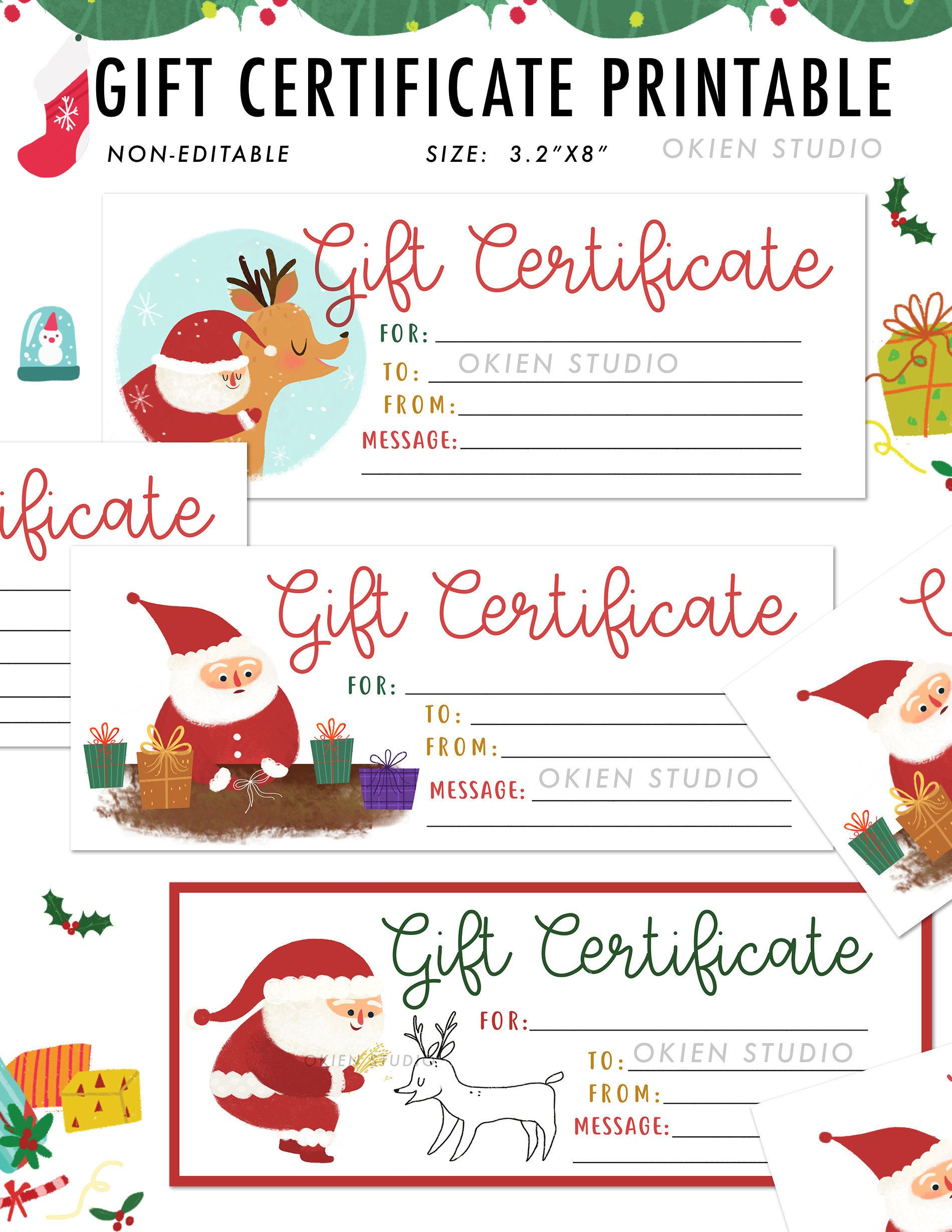 Christmas Santa Gift Certificate Template for Kids Gift   Etsy ...