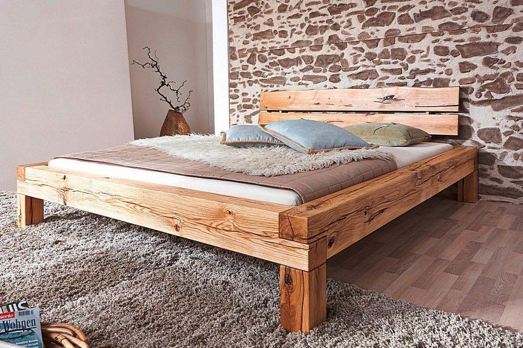 Holzbett rustikal hoch  Massivholz Bett 160x200 Balkenbett Rustikal Doppelbett Wildeiche ...