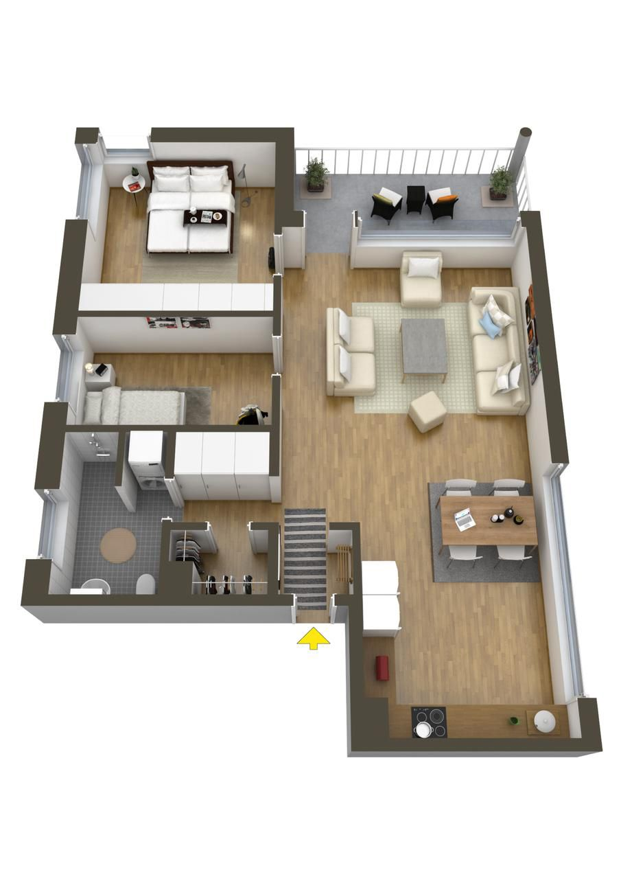 Planos de departamentos dos dormitorios 3 ambientes for Distribucion apartamentos pequenos