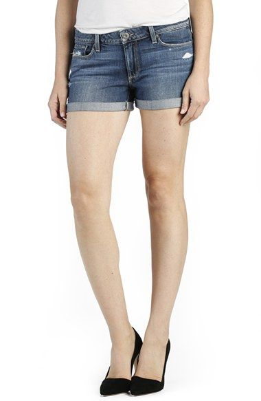 Free shipping and returns on Paige Denim 'Jimmy Jimmy' Denim Shorts (Silas Destructed) at Nordstrom.com. Lived-in distressing punctuates the versatile medium-blue wash of denim shorts styled with hems that can be cuffed or left long to match your mood.