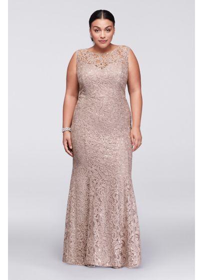 d3fd7561b80 Long Lace Plus Size Dress with Beaded Capelet 3523DW