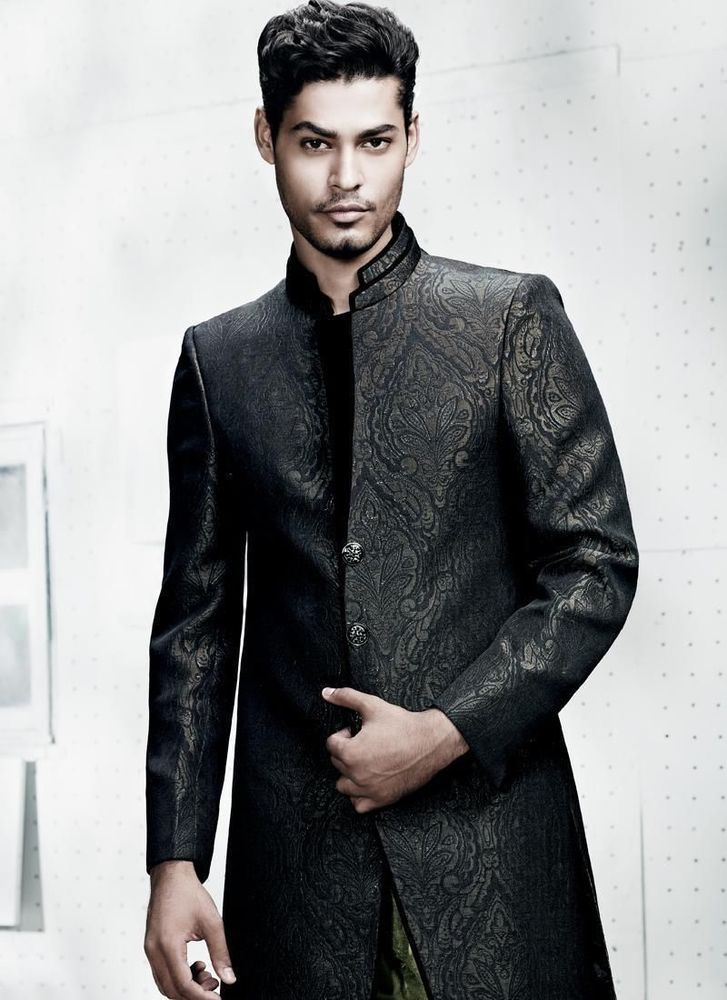 New Mens Indo Western Party Wear Designer India Stani Wedding Sherwani The Length Is