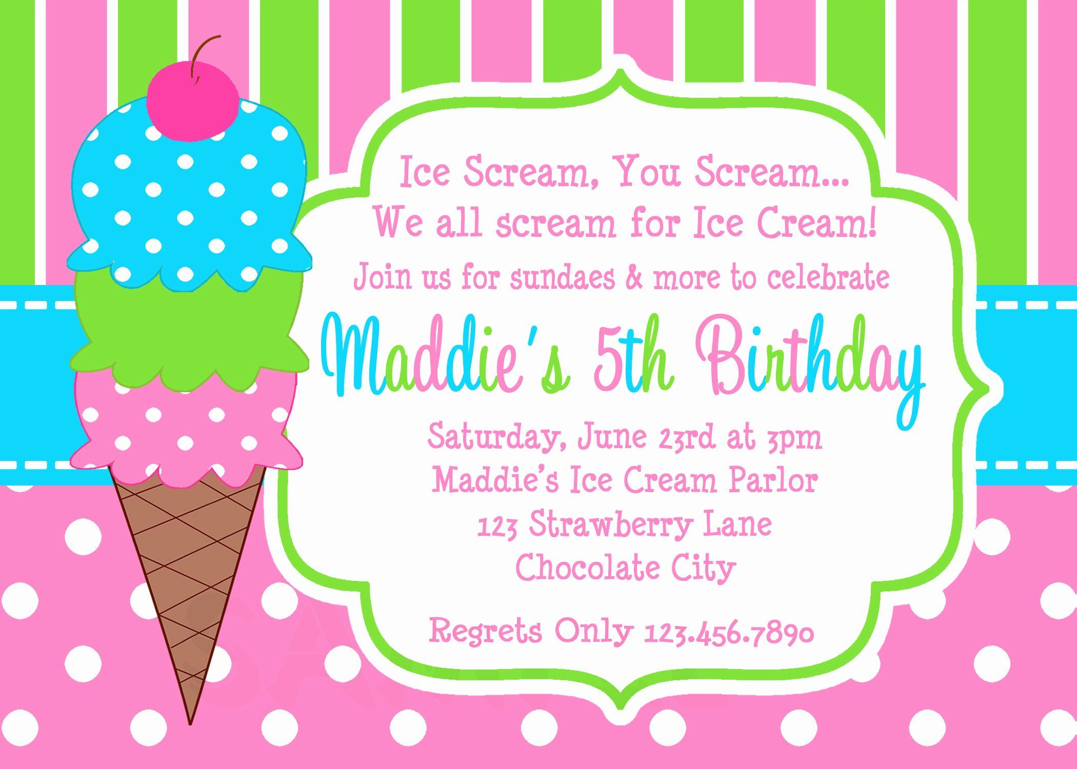Ice Cream Birthday Invitations Elegant Printable Birth Printable Birthday Invitations Birthday Party Invitations Printable Ice Cream Birthday Party Invitations
