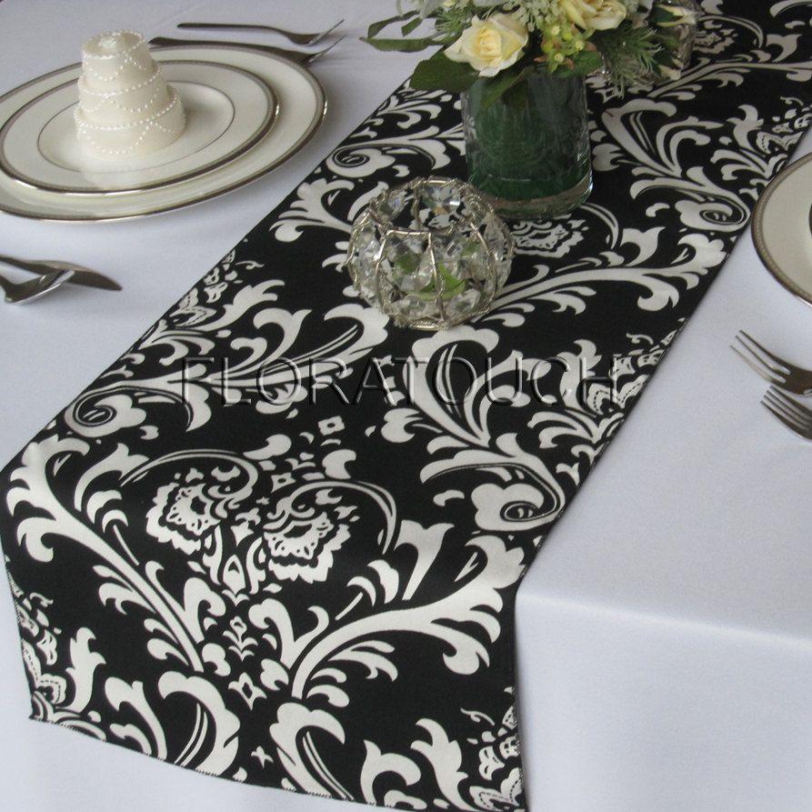 Elegant Traditions White Damask On Black Table Runner. $12.00, Via Etsy.