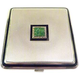 Silver Jade Compact Mirrors Solid Silver Compacts Art Deco