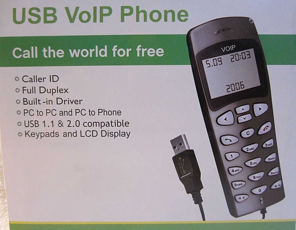 USB Powered VoIP Phone Handset for Skype & Internet Calling, LCD