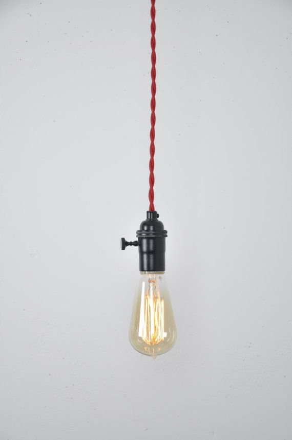 Black Pendant Light Red Cord Hanging Light Fixture Matte Black Flat Black Satin Black Vintage Style Wire Indistrial Lighting Edison Black Pendant Light Pendant Light Hanging Light Fixtures