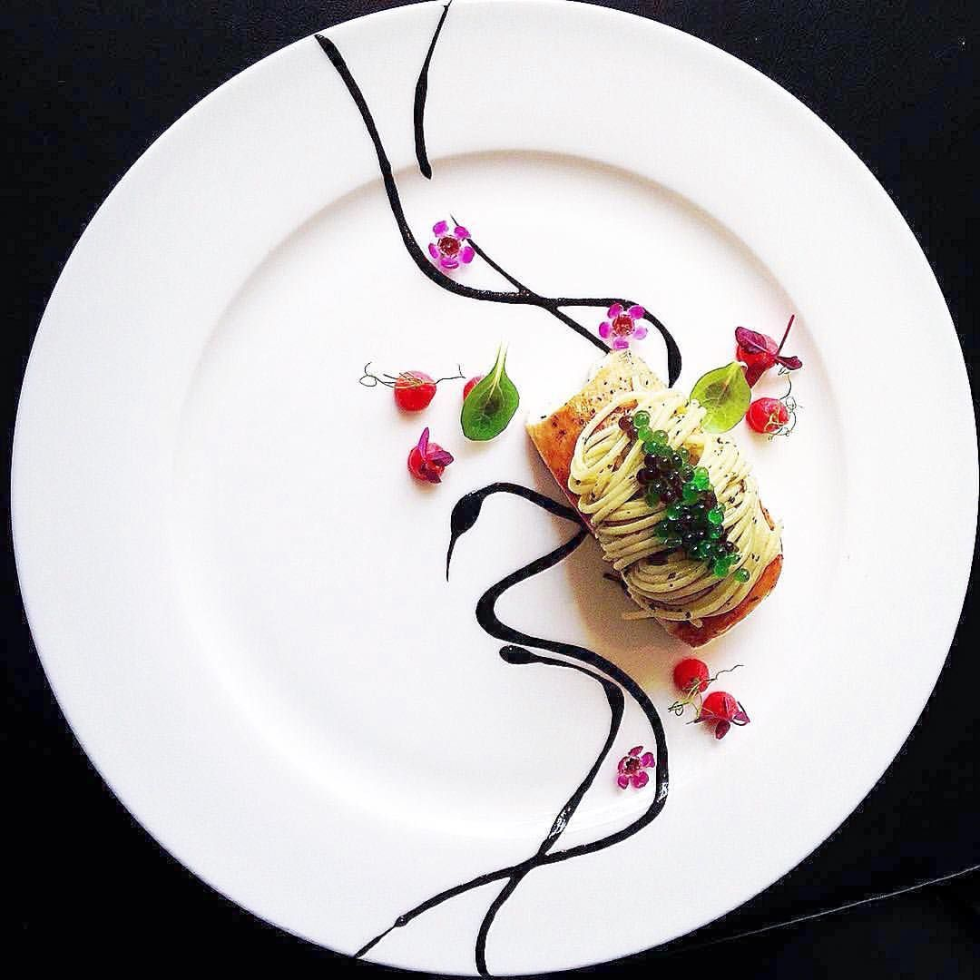 pintade breast, black truffle, dust celeriac and beetroot purée, spaghettini, green caviar by @chef_michel_lombardi