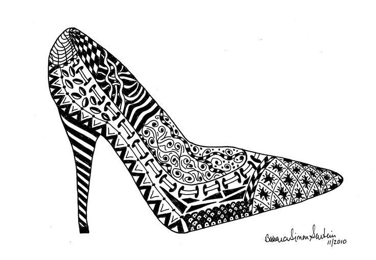 Zentangle Shoe Rocky Cross Studio Having So Much Fun Drawing