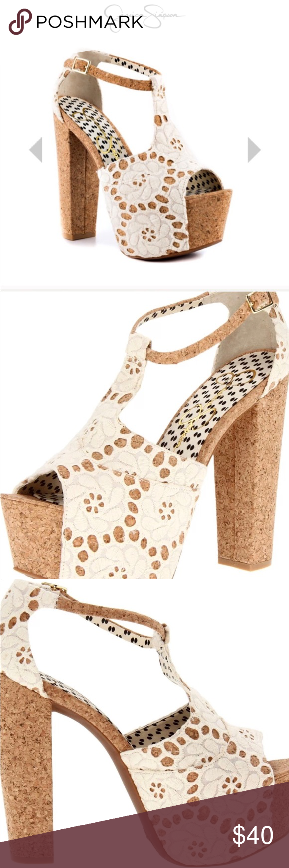 4554e69bd50 Jessica Simpson Dany4 Cream Macrame Cork Heels Jessica Simpson DANY4 cream  lace open toe high heel