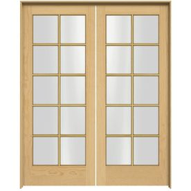 Jeld Wen 15 Lite Wood 60 In X 80 In Unfinished Clear Glass Unfinished Pine Wood Interior French Door Hardware Included Lowes Com Pine Interior Doors French Doors Interior Prehung Interior Doors