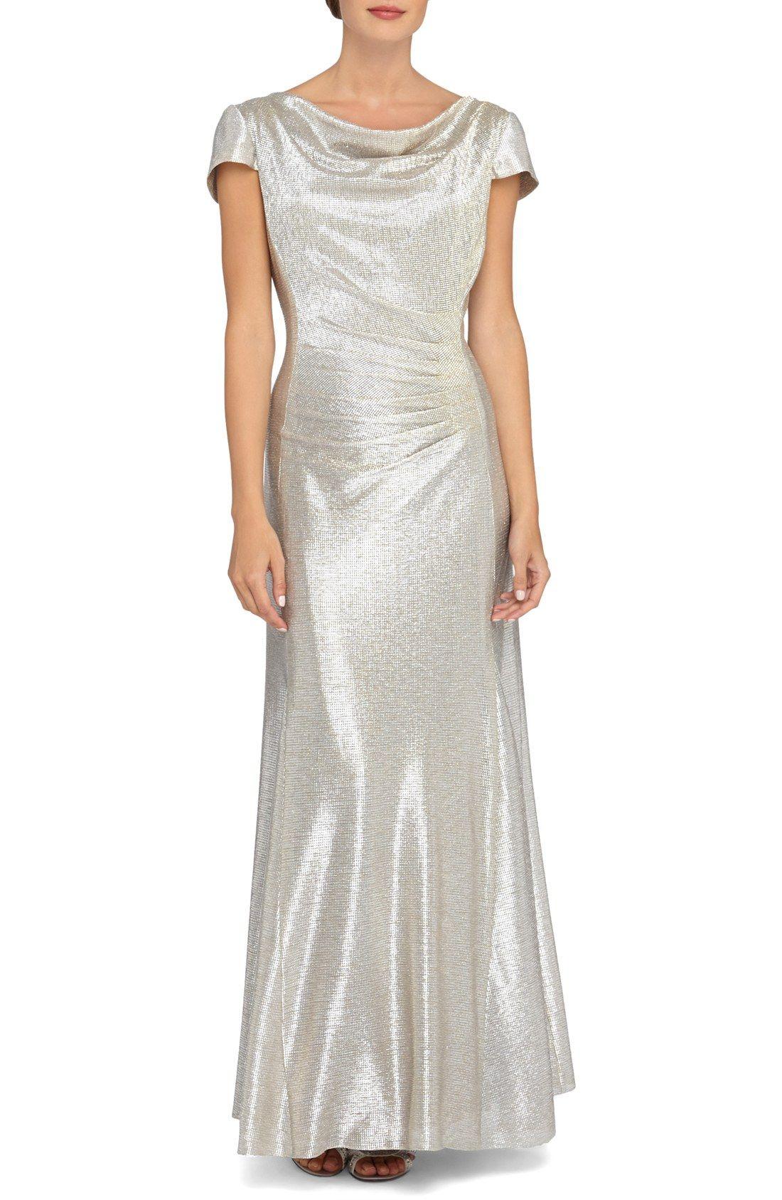 Tahari Metallic Crepe Scoop Neck Gown
