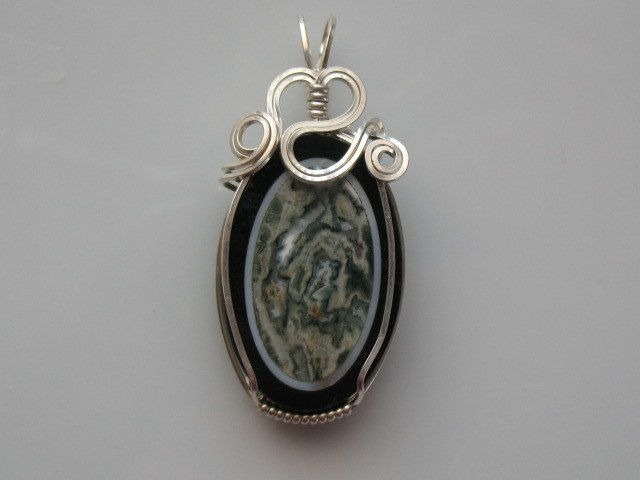 Intarsia Ocean Jasper with wire wrapped bail by DEWDABEADS, $16.00 ...