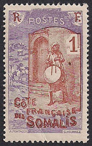 Estampilla Somalia Francesa 1915 1933 Musico Con Su Tambor Briefmarken Kunst Vintage Briefmarken Stempeln