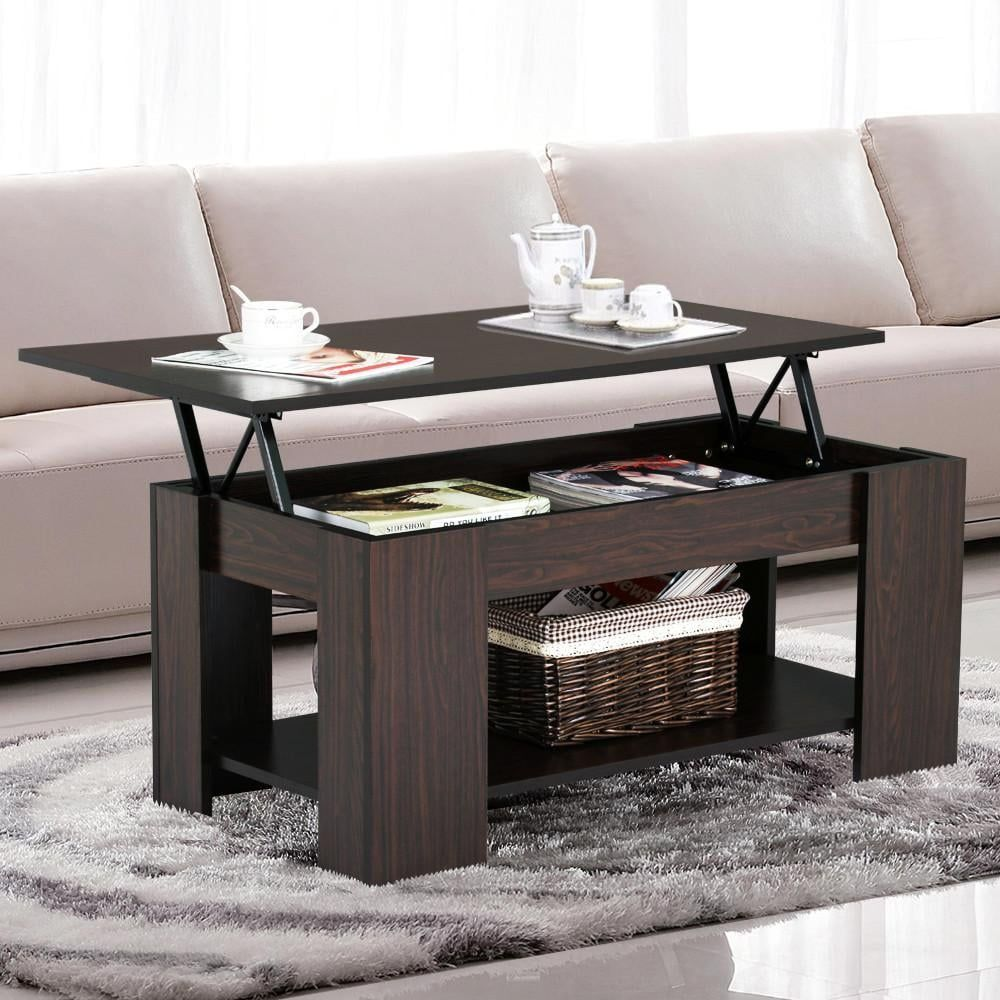 Yaheetech Lift Up Top Coffee Table With Under Storage Espresso Living Room Furniture Coffee Table With Hidden Storage Shelves Modern Living Room [ 1000 x 1000 Pixel ]