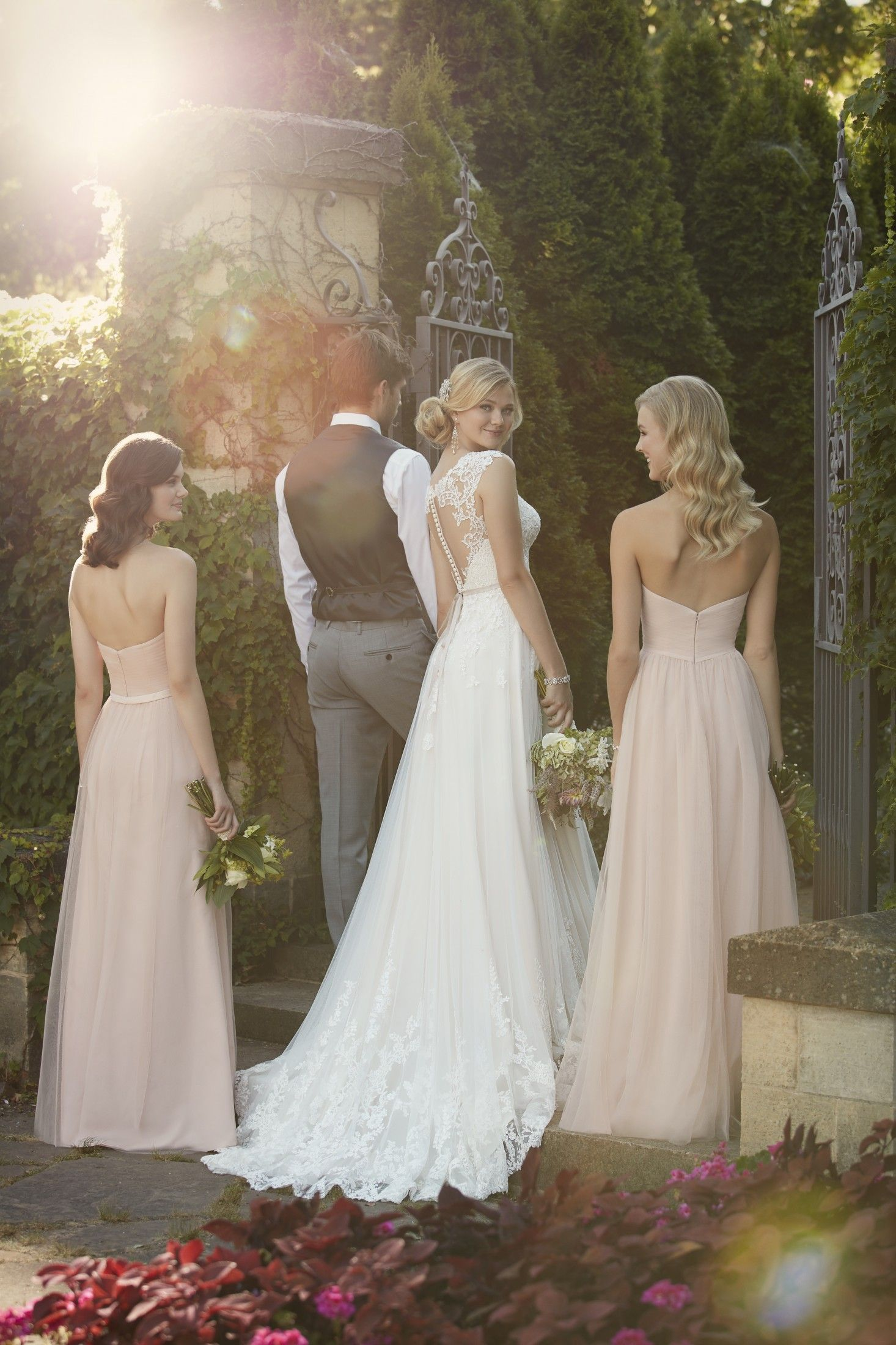 This gorgeous lace over matteside lustre satin aline wedding gown