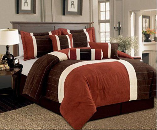 7 Pc Micro Suede Rust Brown And Cream Colored Comforter Set