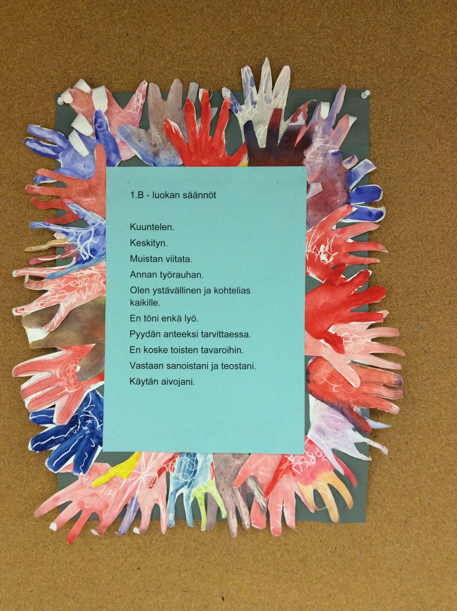 Luokan säännöt. Jokainen oppilas maalasi ja leikkasi kuvan kädestään merkiksi sääntöihin sitoutumisesta.