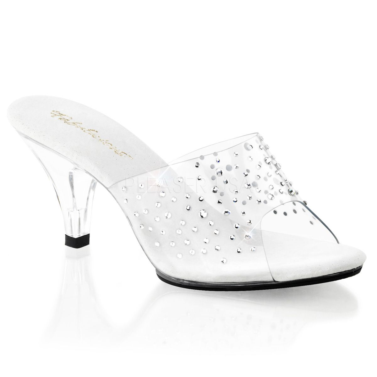 1950s Style Shoes Fabulicious Shoes Belle-301RS Crystal Encrusted Slip-On Mules £64.95 AT vintagedancer.com