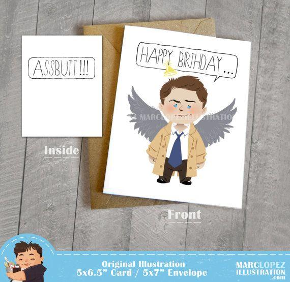 Castiel Birthday Assbutt Card Supernatural Fan Art By Marclopez