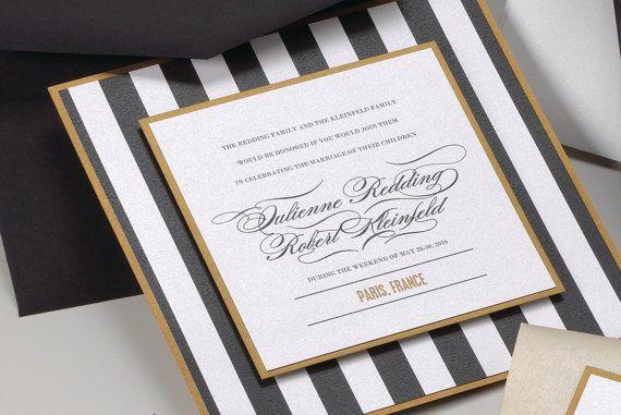 Black White Gold Wedding Invitations: Stripe Black White And Gold Wedding Invitation