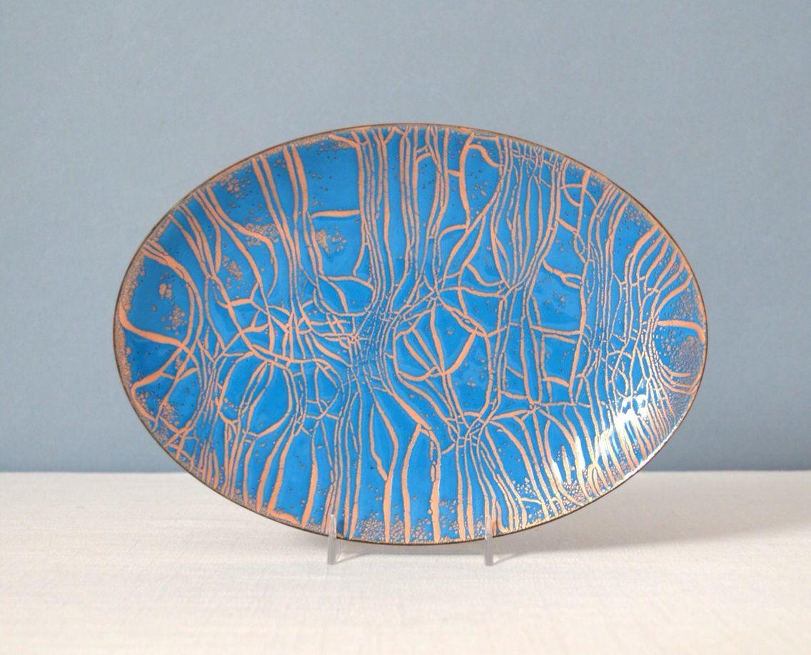 Mid-century enamel on copper dish