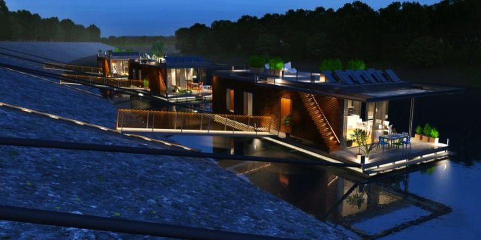 Contemporary Floating Houses In Budapest Sit On Danube River