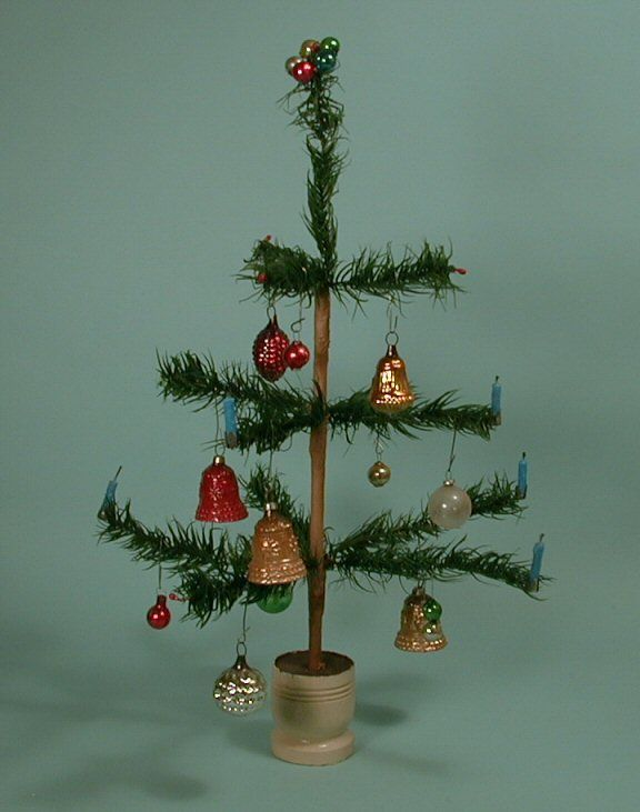 Miniature German Goose Feather Christmas Tree #170-14 SOLD - Miniature German Goose Feather Christmas Tree #170-14 SOLD